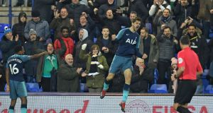 Tottenham's Fernando Llorente celebrates scoring their second goal during the FA Cup win over Tranmere Rovers at Prenton Park. Photo: Paul Ellis/Getty Images