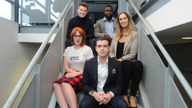Hugh Weldon and Ahmed Mu'azzam of Evocco (back), Naomh McElhatton of She Said Club and Smart Global  (left), Rosanne Longmore of Coroflo (right) and Stephen Costello of Spectrum Wellness (front).  Photograph: Aidan Crawley