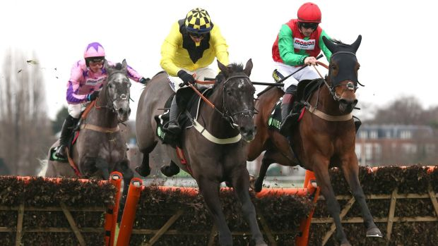 Elixir De Nutz and Tom O' Brien (centre) ground out an impressive win in the Tolworth Hurdle at Sandown. Photograph: Julian Herbert/PA