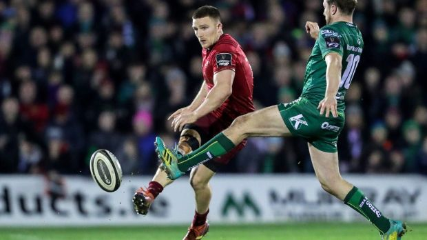 Jack Carty challenges Andrew Conway during Connacht's defeat to Munster in Galway. Photograph: Laszlo Geczo/Inpho
