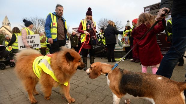 The Fingal Dog Owners Group held a protest march calling on Fingal County Council to reverse new restrictions. Photograph: Dara Mac Dónaill/The Irish Times