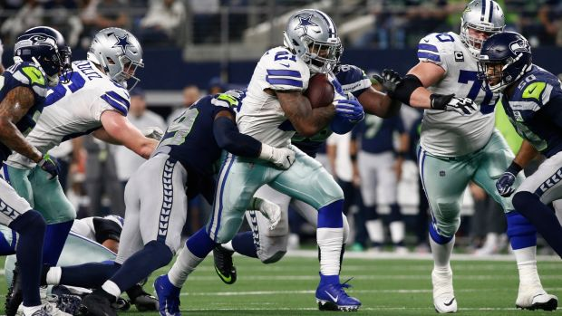 Ezekiel Elliott carries during the Dallas Cowboys' win over the Seattle Seahawks. Photograph: Mike Stone/EPA