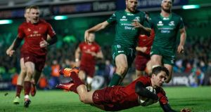 Joey Carbery scores Munster's  fourth try during the Guinness Pro 14 game against Connacht at the Sportsground. Photograph: James Crombie/Inpho