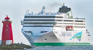 Irish Ferries' latest cruise ferry WB Yeats was launched last month, with another due to start sailing between the UK and Ireland in 2020. Photograph: Niall Carson/PA Wire