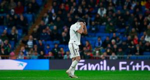 Lucas Vazquez was sent off during Real Madrid's defeat to Real Sociedad. Photograph: Gonzalo Arroyo Moreno/Getty