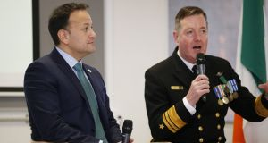 File photograph of Taoiseach Leo Varadkar with Vice-Admiral Mark Mellett, chief of staff of the Defence Forces, who are visiting Mali. Photograph: Nick Bradshaw
