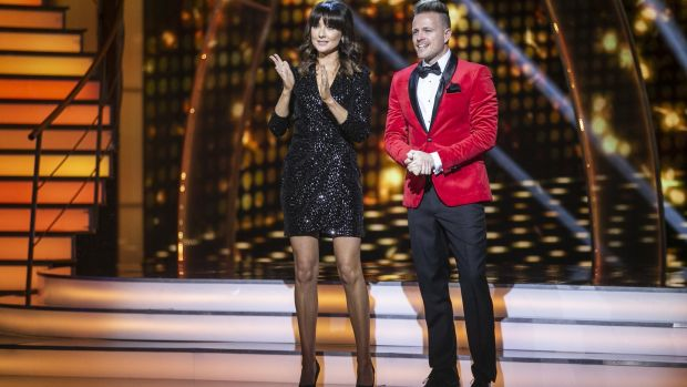 Presenters Jennifer Zamparelli and Nicky Byrne during Dancing with the Stars. Photograph: Kyran O'Brien