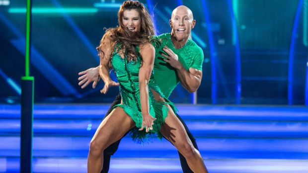 Peter Stringer and Ksenia Zsikhotska dancing a salsa to Ricky Martin's Come With Me during the first live show of Dancing With The Stars. Photograph: Kyran O'Brien