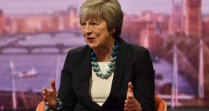 "Britain's prime minister Theresa May on the BBC's ""The Andrew Marr Show"": said she would work to secure further assurances from EU leaders on the backstop to assuage members of her Conservative Party and the DUP. Photograph: Jeff Overs/BBC/Handout"