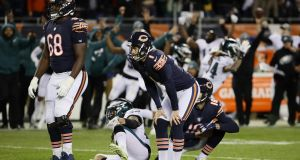 Cody Parkey of the Chicago Bears reacts after missing a field goal attempt in the final moments of their 15-16 loss to the Philadelphia Eagles in the NFC Wild Card Playoff game at Soldier Field in Chicago, Illinois. Photo: Jonathan Daniel/Getty Images