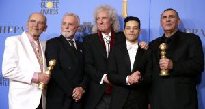 Jim Beach, Roger Taylor and Brian May of Queen, Rami Malek, Graham King pose with their awards for 'Bohemian Rhapsody' in the press room during the 76th annual Golden Globe Awards ceremony at the Beverly Hilton Hotel, in Beverly Hills, California. Photograph: Mike Nelson/ EPA