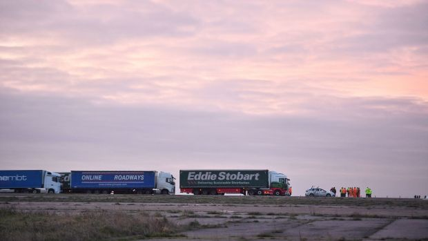 A trial at the former Manston Airport site in Kent of a government plan to hold lorries in the event of post-Brexit disruption at the channel ports. Photograph: Victoria Jones/PA Wire