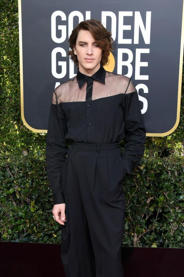 An androgynous look for American Horror Story star Cody Fern. Photograph: Jon Kopaloff/Getty Images