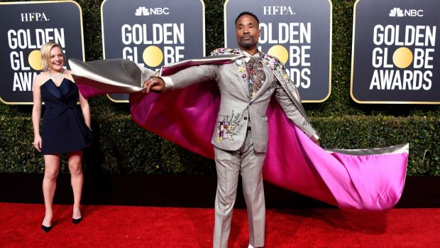 Billy Porter makes a serious entrance in his Randi Rahm cape. Photograph: Frazer Harrison/Getty Images