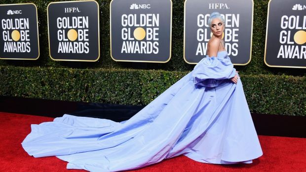 Lady Gaga in her blue Valentino gown. Photograph: Frazer Harrison/Getty Images