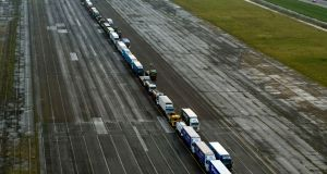 Lorries parked in a queue during a trial at the former Manston Airport site in Kent. Photograph: Victoria Jones/PA Wire
