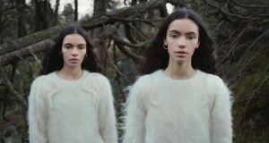 Twins Sadhbh and Cadhla O'Reilly in knitwear by Alison Conneely. Film still: Perry Ogden/Showcase