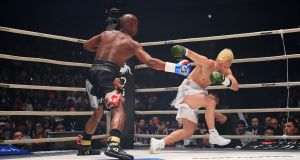 Floyd Mayweather in action against  Tenshin Nasukawa during their exhibition match at Saitama Super Arena in Saitama. Photograph: AFP/Getty Images