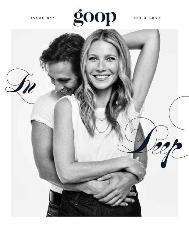 Gwyneth Paltrow and Brad Falchuk on the cover of her magazine, Goop. The couple married on September 29, 2018