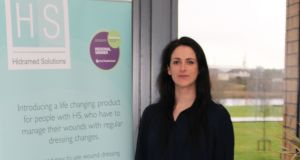 "Suzanne Moloney, founder of Hidramed Solutions: ""Our product enables patients to change a dressing quickly and easily – in less than 30 seconds – and, most importantly, without any adhesive skin contact"""