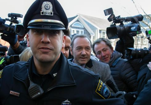 ACTOR ARRAIGNED: US actor Kevin Spacey is escorted into Nantucket District Court in Nantucket, Massachusetts, US, for arraignment on a sexual assault charge related to an alleged incident at the Club Car, Nantucket, in July 2016. He pleaded not guilty. Photograph: CJ Gunther/EPA