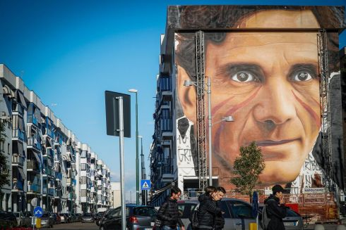 TOWERING INTELLECT: A mural of Italian writer and director Pier Paolo Pasolini, by Italian artist Jorit Agoch, in Scampia district, Naples, Italy. Photograph: Cesare Abbate/EPA