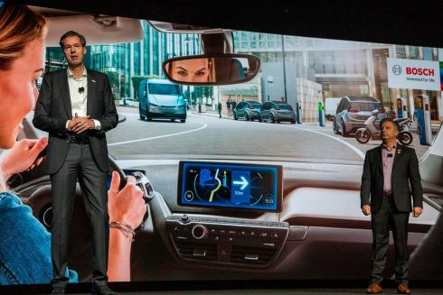 DRIVING SEAT: Bosch board member Markus Heyn (left) and president of Bosch in North America Mike Mansuetti speak at the company's press conference at the Mandalay Bay Convention Center during the technology exhibition CES 2019 in Las Vegas. Photograph: David McNew/AFP/Getty Images