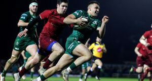 Connacht winger Cian Kelleher runs in a try during  the Guinness Pro 14 game against Munster at the  Sportsground. Photograph:  Laszlo Geczo/Inpho