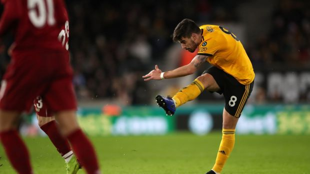 Wolverhampton Wanderers' Ruben Neves scores his side's second goal of the game. Photograph: Nick Potts/PA Wire