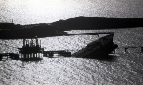The Whiddy Island oil terminal disaster happened in Bantry Bay, west Cork, in the early hours of January 8th, 1979. Fifty people died after a fire and explosion on the French tanker Betelgeuse, berthed at the Gulf Oil terminal on the island.  Photograph: Paddy Whelan