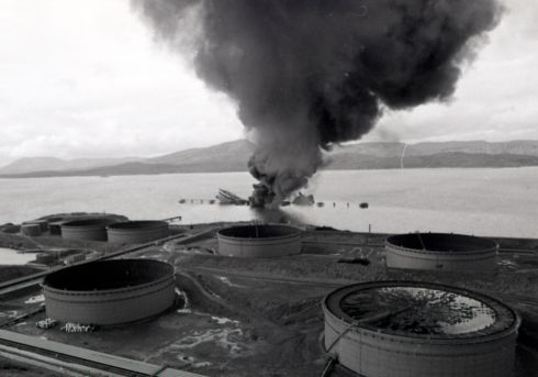 Oil storage tanks close to the jetty that was destroyed when the Betelgeuse exploded. Photograph: Pat Langan