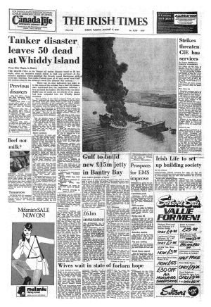 The front page of The Irish Times, January 9th, 1979