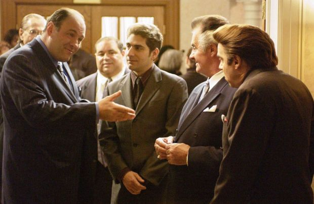 The Sopranos: James Gandolfini as Tony Soprano, Michael Imperioli as Christopher Moltisanti, Tony Sirico as Paulie Walnuts and Steven Van Zandt as Silvio Dante. Photograph: HBO