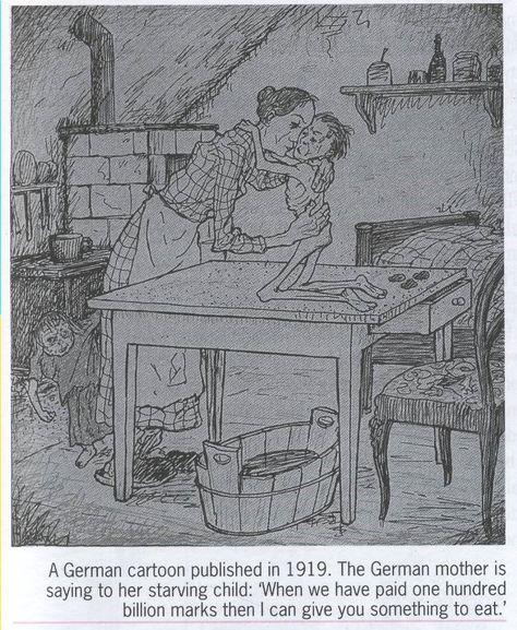 A German cartoon from 1919 illustrates the bitterness many felt in Germany about the Treaty of Versailles and the reparations the country had to pay to the victorious Allies