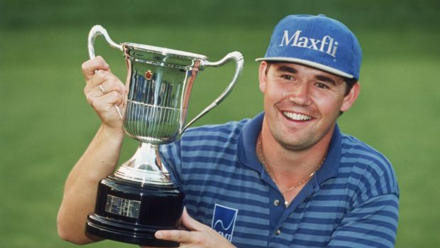 Harrington with the Spanish Open trophy – his first professional win – in May 1996. Photo: Clive Mason/Getty Images