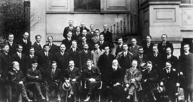 Sinn Féin leaders  1919. Thirty-six elected members were in jail. P Maloney on left in second row. Photograph: Hulton Archive