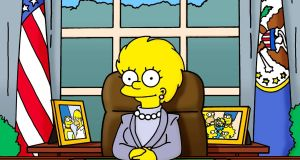 Lisa Simpson as US president. On her first day, she informs her new cabinet that they may have to raise taxes due to a fiscal hole left by her predecessor, President Trump.