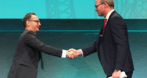 Heiko Maas  and Tánaiste Simon Coveney meet at the  Global Ireland 2025: Making it Happen conference, at Dublin Castle. Photograph: PA