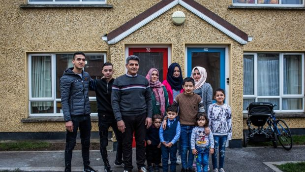 Ghaythaa Abdualdahab (centre) and her husband Adnan Karazi with their family in Mosney provision centre in Co Meath. Photograph: James Forde