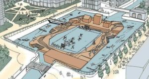 Schematic drawing of the proposed white-water facility at George's Dock planned by Dublin City Council