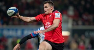 Jacob Stockdale: the 21-year-old has scored in every European round so far for Ulster. Photograph: Morgan Treacy/Inpho