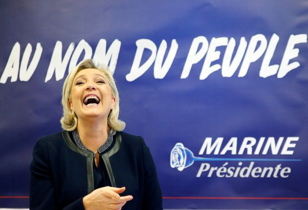 Marine Le Pen, leader of the far-right Rassemblement National and smiling cheshire cat for the 'gilets juanes', pictured during her run in the 2017 French presidential election campaign Photograph: Chesnot/Getty