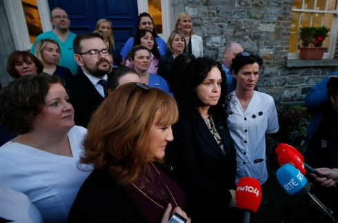 NURSING ACTION: Representatives of the Irish Nurses and Midwives Organisation announce plans for strikes related to pay demands on January 30th, followed by more on February 5th, 7th, 12th, 13th and 14th.  Photograph: Nick Bradshaw/The Irish Times