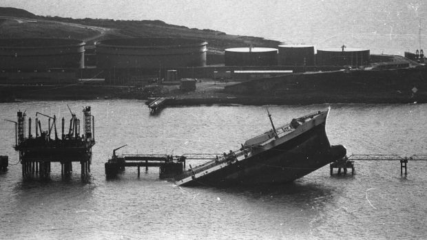 The wreck of the 'Betelgeuse' after the explosion at the Gulf Oil terminal at Whiddy Island, Bantry on January 9th, 1979 Photograph: Paddy Whelan/THE IRISH TIMES