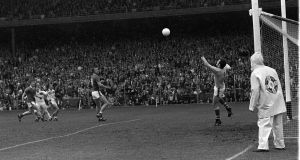 Offaly's Séamus Darby  fires the vital  last -minute goal past Kerry goalkeeper Charlie Nelligan which denied Kerry five  All-Ireland football titles in a row in the 1982 final at Croke Park. Photograph: Colman Doyle
