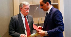 US national security adviser John Bolton  and Turkish presidential spokesman Ibrahim Kalin  following their meeting  in the Turkish capital Ankara. Photograph: AFP/Getty Images