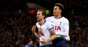 Harry Kane celebrates his goal for Tottenham Hotspur against Chelsea at wembley on Tuesday night. Photograph: Catherine Ivill/Getty Images