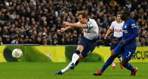 Tottenham Hotspur's Harry Kane in action against Chelsea in the League Cup. Photograph: PA