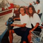 Arlene Harris and her friend Julie Albrecht on a moped in Greece in the 1990s as they Interrailed around Europe