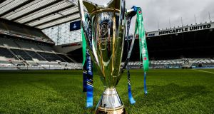 The Heineken Cup trophy at St James' Park, where the final will be held in May. Photograph: James Crombie/Inpho